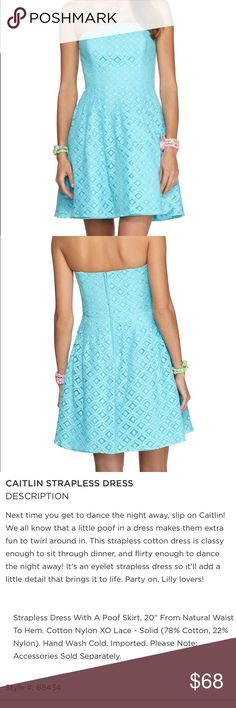 NWOT Lilly Pulitzer Lace Caitlin Strapless Dress Size 6. NWOT! Never been worn. Gorgeous turquoise color. Functioning zipper down the back. No pockets. Lilly Pulitzer Dresses Strapless