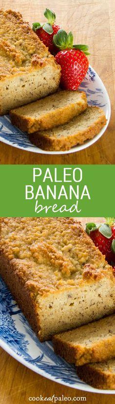 A paleo banana bread recipe that is gluten-free, grain-free, dairy-free, and refined sugar-free. Traditional banana bread flavor made with. Paleo Snack, Paleo Baking, Paleo Sweets, Paleo Breakfast, Paleo Dessert, Paleo Diet, Dinner Dessert, Best Healthy Banana Bread Recipe, Gluten Free Banana Bread