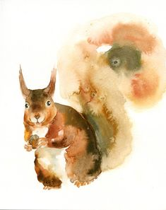 SQUIRREL Original watercolor painting 8x10inch (Vertical orientation). $35.00, via Etsy.