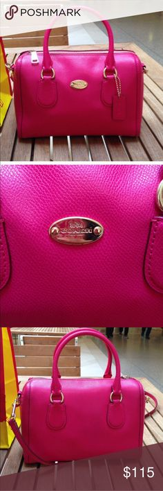 COACH Ruby pink mini Bennett sachel Only worn a a week!!! And found a new bag! Price is firm!! Firm price. Lovely purse. But I have to let go since my other purse that I bought was also pink and bigger size. Happy buying everyone! Coach Bags Crossbody Bags
