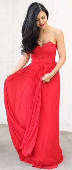 Red Strapless Gown Fall Party Style Inspo by The Honeybee