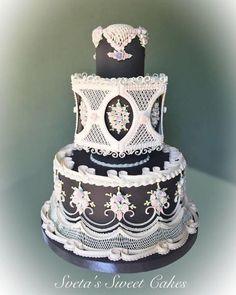 Royal icing wedding cake by Sveta Royal Icing Piping, Royal Icing Cakes, Gorgeous Cakes, Pretty Cakes, Amazing Cakes, Wedding Cake Icing, Wedding Cake Designs, Wedding Cakes, Wedding Cake Centerpieces