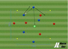 Ejercicio de entrenamiento de fútbol para la mejora de la posesión de balón mediante intercambios de posición.