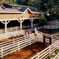 I really dig this. I appreciate the small pens. Maybe you need to keep a horse in while you wait on the vet or a buyer. You can stash him there without typing up an easily agitated horse. Dream Stables, Dream Barn, Horse Stalls, Horse Barns, Cabana, Indoor Arena, Future Farms, Dream Properties, Horse Ranch