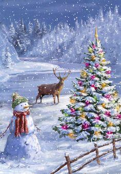 weihnachten schnee christmas scenes S - Noel Christmas, Vintage Christmas Cards, Christmas Pictures, Winter Christmas, Christmas Crafts, Christmas Decorations, Envelopes Decorados, Wallpaper Natal, Illustration Noel