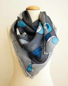 Silk scarf Hand painted Hand Painted square Silk Scarf by gilbea
