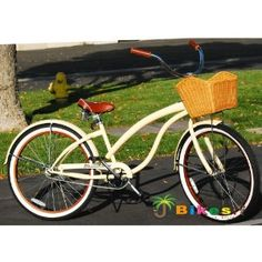 "Fashionista Custom Deluxe 26"" Women's Beach Cruiser Bicycle Vanilla"