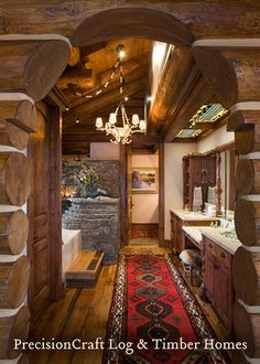 Rustic Cabin Handcrafted Log Bathroom - love the rug! It gives it a western feel. Small Cabin Decor, Log Cabin Bathrooms, Log Cabin Homes, Log Cabins, Rustic Cabins, Rustic Homes, Timber House, Cabins And Cottages, Bathroom Interior