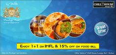 Enjoy 1+1 on IMFL throughout the day & flat 15% off on food bill.