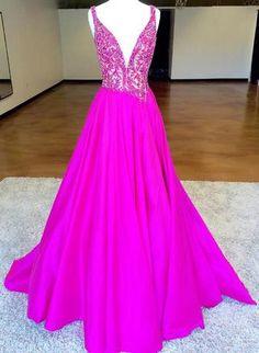 stunning hot pink long prom dress, 2018 long prom dress, formal evening dress party dress