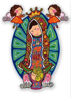 "catholic-christian: ""Such sweet and childlike images of Our Lady of Guadalupe in folk art style. Religion, Images Of Mary, Mary And Jesus, Arte Popular, Catholic Saints, Mexican Art, Blessed Mother, Mother Mary, Kirchen"