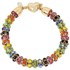 Betsey Johnson Rainbow Connection Mesh Bracelet ($42) ❤ liked on Polyvore featuring jewelry, bracelets, multi, gold tone jewelry, graduation gifts jewelry, rainbow jewelry, graduation jewelry and betsey johnson jewelry