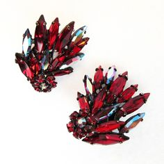 Gorgeous Vintage Japanned Siam Red Crystal Spray Earrings by Sherman from Vintage Jewelry Girl! #vintageearrings #vintagejewelry #vintagejewellery