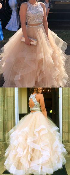 Sequin Beaded Ruffles Organza Two-piece Ball Gowns Prom Dresses 2018 - alinanova - Kleider Prom Dresses Two Piece, Cute Prom Dresses, Prom Dresses 2018, Ball Gowns Prom, Ball Dresses, Pretty Dresses, Beautiful Dresses, Formal Dresses, Prom Dreses