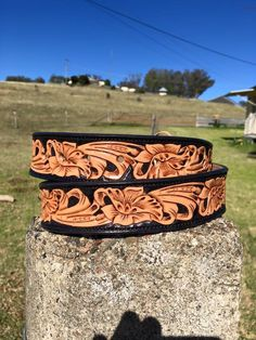 Hand carved men's belt made by DustyCowgirl Leather  Like us on Facebook