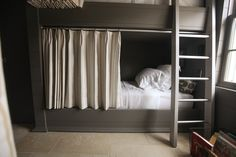 10 Marvelous Bunk Bed Design For Unique Beds in Your Home 4 Bunk Beds, Bunk Bed Curtains, Custom Bunk Beds, Double Bunk Beds, Bunk Rooms, Kid Beds, Bedrooms, Privacy Curtains, Blackout Curtains