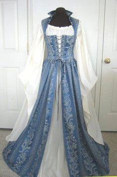 Blue and cream renaissance costume