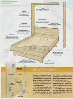 Decorate your room in a new style with murphy bed plans Cama Murphy, Murphy Bunk Beds, Build A Murphy Bed, Murphy Bed Desk, Bunk Bed Plans, Modern Murphy Beds, Murphy Bed Plans, Murphy Bef, House Frame Bed