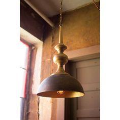 Antique Gold Metal One Light Pendant
