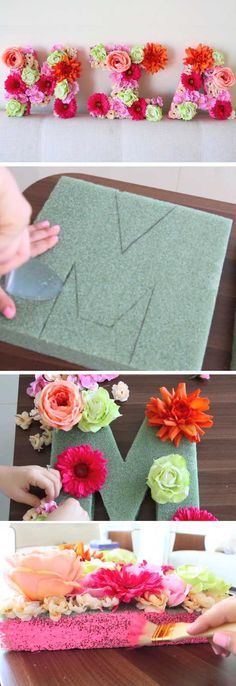 Floral Letters | DIY Baby Shower Decor Ideas for a Girl #DIYDecorBedroom