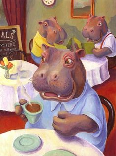 Hippo at the Cafe by Matthew Finger Art Prints by Matthew Finger ... imagekind.com