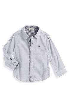 Armani Junior Woven Cotton Shirt (Baby Boys) available at #Nordstrom