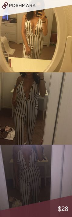 Missguided striped jumpsuit NWOT Missguided striped jumpsuit NWOT. Never worn. UK size 8 but fits like a 4 Dresses Maxi