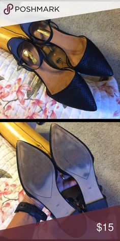 HALOGEN Black Ankle flat Absolutely adorable but needs loving home. Great condition and super easy to wear! Slim ankle-wrap strap perfect the appeal of an almond toe pump! Size 7 Halogen Shoes Flats & Loafers