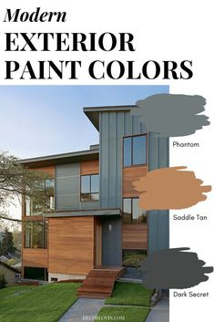 Modern Exterior Paint Colors Paint your home with confidence using this modern paint color guide! 9 different modern exterior paint color combinations that will look good on any home. Pick your favorite one! Exterior Paint Color Combinations, House Paint Color Combination, Exterior Paint Colors For House, Color Schemes, Cabin Exterior Colors, Outside House Paint Colors, Exterior Paint Schemes, Best Exterior Paint, Exterior Siding