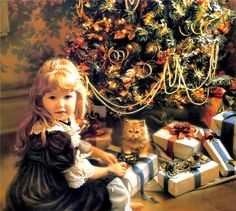 Sandra Kuck  Christmas Time, girl with packages under tree and kitten.