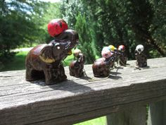 Vintage Mama Elephant & 6 Baby Elephants on a Chain--Brown Redware--Multi Colored Balls--Mid Century Circus Kitsch--Cottage Chic--Feng Shui by AlloftheAbove on Etsy