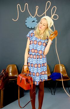 "Bonnie and Buttermilk mod retro 60s 70s fashion Orla Kiely DRESS ""FOLK BABE"" IN BLUE"