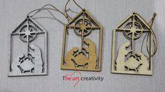 Addobbo in legno con natività e dipinto a mano. http://www.theartcreativity.com/