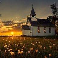 old country church at sunset