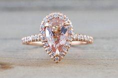 14k Rose Gold Pear Morganite Diamond Halo Engagement Ring Vintage 10x5.8mm