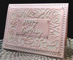 """Jo Jo b-day Oct 2016 Simply Designed """"Rain Drops On Roses die, Gina Marie Loopy Rectangle die. Elizabeth Craft Glitter on background and on sentiment. Made by Peggy Dollar"""