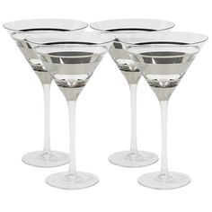 Set of four martini glasses with silver banded detail.  Product: Set of 4 glassesConstruction Material: Glass