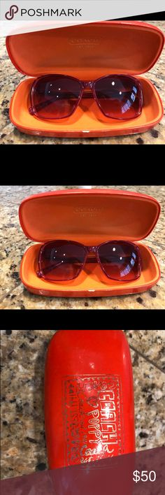 COACH pink sunglasses Poppy Hi there! Here's a lovely pair of COACH pink sunglasses from the Poppy collection, gently used. The coach emblem on one side is wearing off slightly and there's a few scratches on one lenses that are barely noticeable. Thanks! Coach Accessories Sunglasses