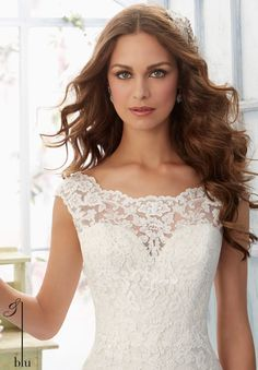 Wedding Gown 5410 Embroidered Lace Appliques and Scalloped Hemline on Net Gown Over Soft Satin