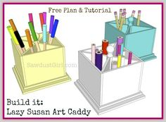 DIY rotating lazy susan art caddy. For this one, you build the rotating mechanism instead of buying one.