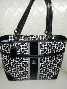 'Coach Heritage Signature Chelsea Tote Black/White' is going up for auction at  2pm Fri, Jan 10 with a starting bid of $125.