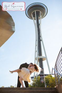 Bride and groom. BHLDN dress. Space Needle Downtown Seattle Wedding. www.redsparrowphoto.com