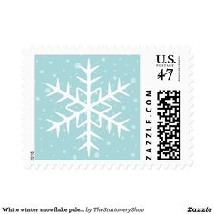 White winter snowflake pale aqua Christmas Holiday Stamp