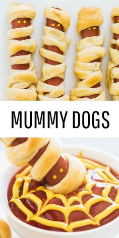 Mummy Hot Dogs - The easiest Halloween appetizer that takes only 2 ingredients to make! So fun, festive and delicious. Serve mummy dogs with spooky spider web sauce for the ultimate Halloween Mummy Hot Dogs! Halloween Desserts, Halloween Appetizers, Halloween Dinner, Halloween Food For Party, Easy Halloween, Halloween Treats, Halloween Hotdogs, Fall Appetizers, Halloween Night
