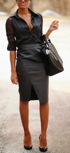 Chic work day outfit, but keep that blouse buttoned up!
