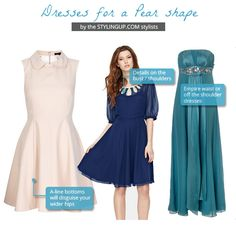 Pear shaped women: find the perfect dress for your pear body shape Pear Shaped Dresses, Pear Shaped Outfits, Pear Shape Fashion, Dress For Body Shape, Pear Shaped Women, Triangle Body Shape, Pear Body, Body Shapes, Pear Shapes