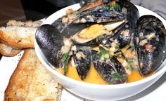 Seafood: TASTE: Steamed Mussels in White Wine Garlic Broth