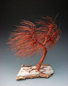 Windswept Recycled Copper Wire Tree Art Sculpture on Angel Wing Plume Slab… Wire Wrapped Jewelry, Wire Jewelry, Wire Earrings, Beaded Jewelry, Handmade Jewelry, Wire Tree Sculpture, Sculpture Art, Tree Wall Art, Tree Art
