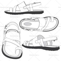 Men's flip flop fashion flat vector templates in four different views. Black and white sketches with all details. Easy to use and modify.