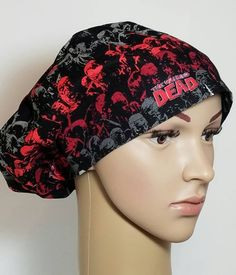 25023767ae809 Womens The Walking Dead Scrub Hat Euro Pixie Nurses Gifts First Assist  Surgical Hat Surgeon s Scrub